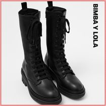 bimba & lola Lace-up Casual Style Plain Leather Block Heels Lace-up Boots