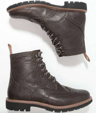 Clarks Wing Tip Plain Toe Mountain Boots Leather Gore-Tex