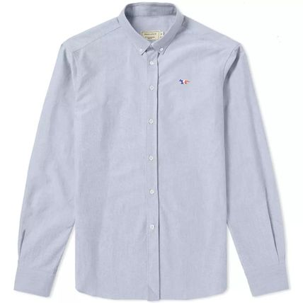 Button-down Long Sleeves Plain Cotton Designers Shirts