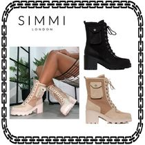 SIMMI Platform Lace-up Casual Style Street Style Block Heels