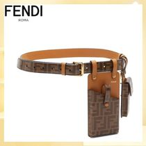 FENDI Casual Style Blended Fabrics Street Style Leather