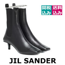 Jil Sander Wedge Square Toe Plain Leather Elegant Style Wedge Boots
