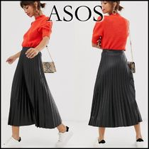 ASOS Casual Style Faux Fur Blended Fabrics Pleated Skirts Plain