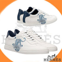 HERMES Street Style Bi-color Other Animal Patterns Leather Sneakers