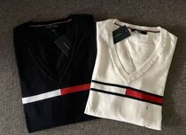 Tommy Hilfiger V-Neck Long Sleeves Logos on the Sleeves Sweaters