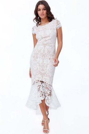 Flower Patterns Tight Boat Neck Long Short Sleeves Lace