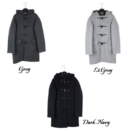 Stand Collar Coats Glen Patterns Casual Style Unisex Wool