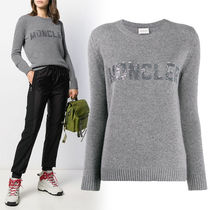 MONCLER Crew Neck Casual Style Wool Cashmere Blended Fabrics