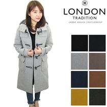 LONDON TRADITION Stand Collar Coats Glen Patterns Casual Style Unisex Wool