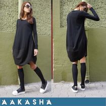 Aakasha Linen U-Neck Long Sleeves Plain Cotton Long Handmade