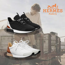 HERMES Suede Leather Sneakers