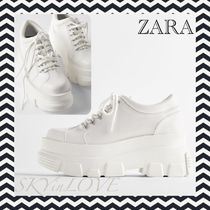 ZARA Platform Rubber Sole Lace-up Casual Style Chunky Heels