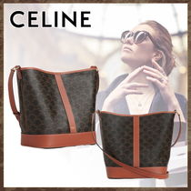 CELINE Triomphe Monogram Casual Style Unisex Calfskin Canvas A4 Office Style