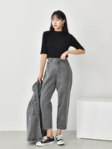 Casual Style Plain Cotton Long Short Length Wide Leg Pants