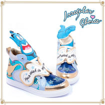 Disney Lace-up Casual Style Faux Fur Collaboration Low-Top Sneakers