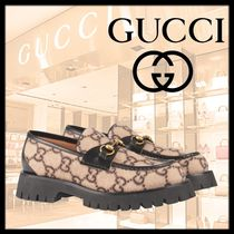 GUCCI Loafers Blended Fabrics Street Style U Tips