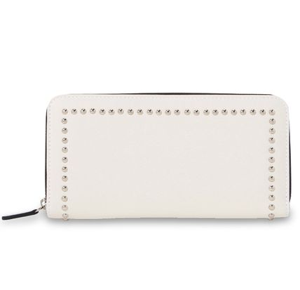 Unisex Studded Plain Leather Long Wallet  Logo Long Wallets