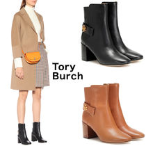 Tory Burch KIRA Round Toe Plain Leather Block Heels Ankle & Booties Boots