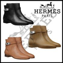 HERMES Casual Style Plain Office Style Ankle & Booties Boots