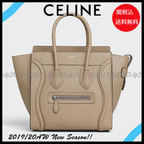 CELINE Luggage Casual Style Calfskin Blended Fabrics Bag in Bag A4 Plain