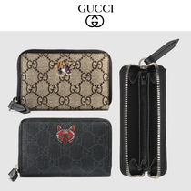 GUCCI GG Supreme Unisex Other Animal Patterns Leather Card Holders