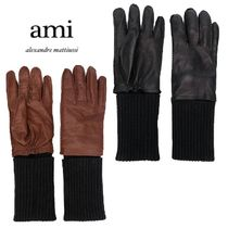 AMI ALEXANDRE MATTIUSSI Cashmere Plain Leather Leather & Faux Leather Gloves