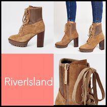 River Island Round Toe Lace-up Casual Style Suede Plain Block Heels