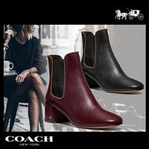 Coach Casual Style Plain Leather Office Style Mid Heel Boots