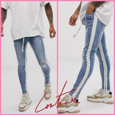 The Couture Club Denim Street Style Bi-color Logo Skinny Jeans