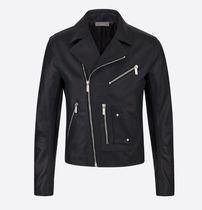 DIOR HOMME Short Street Style Plain Leather Asymmetry Military