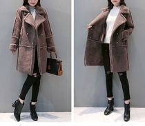 Casual Style Bi-color Medium Duffle Coats