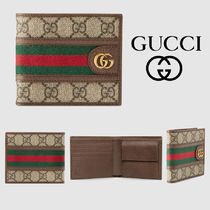 GUCCI Ophidia Stripes Canvas Leather Folding Wallets