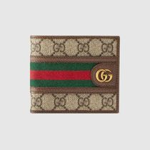 GUCCI Ophidia Stripes Canvas Leather Folding Wallet Logo Folding Wallets
