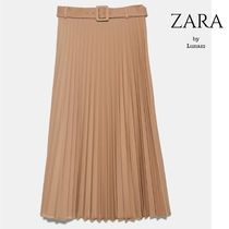 ZARA Casual Style Pleated Skirts Plain Medium Office Style