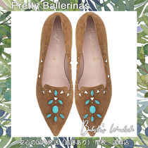 Pretty Ballerinas Leopard Patterns Casual Style Suede Blended Fabrics Studded