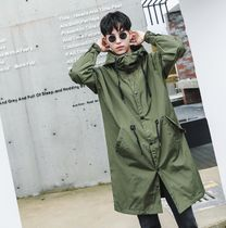 Street Style Plain Long Oversized Parkas
