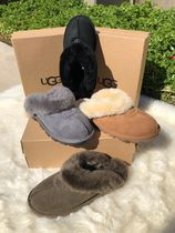 UGG Australia COQUETTE Leopard Patterns Open Toe Rubber Sole Casual Style Sheepskin