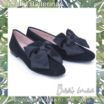 Pretty Ballerinas Square Toe Suede Blended Fabrics Plain Party Style