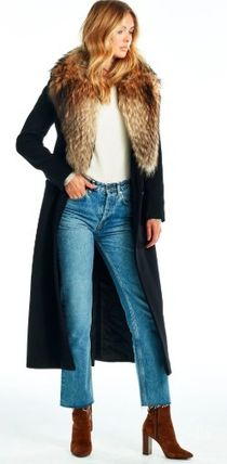 Casual Style Wool Fur Plain Long Party Style Office Style