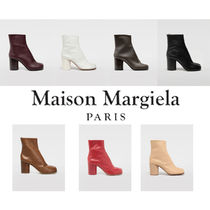 Maison Martin Margiela Tabi Round Toe Casual Style Leather Block Heels High Heel Boots