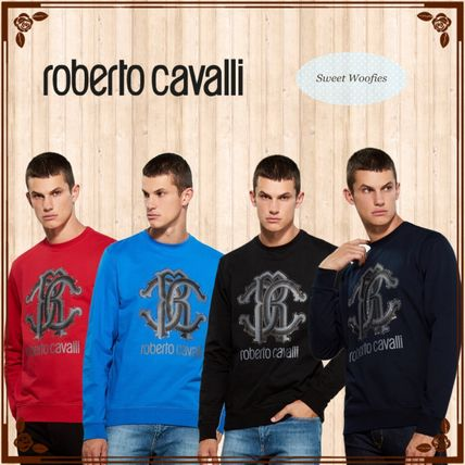 Crew Neck Pullovers Street Style Long Sleeves Cotton Logo
