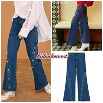 ELF SACK Denim Blended Fabrics Studded Street Style Plain Long