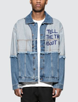 Unisex Denim Street Style Plain Denim Jackets Oversized Logo