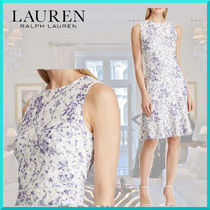 Ralph Lauren Flower Patterns Sleeveless Flared U-Neck Medium