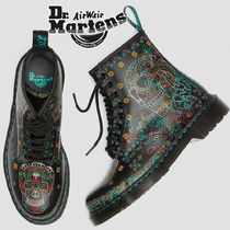 Dr Martens 1460 Skull Flower Patterns Lace-up Casual Style Unisex