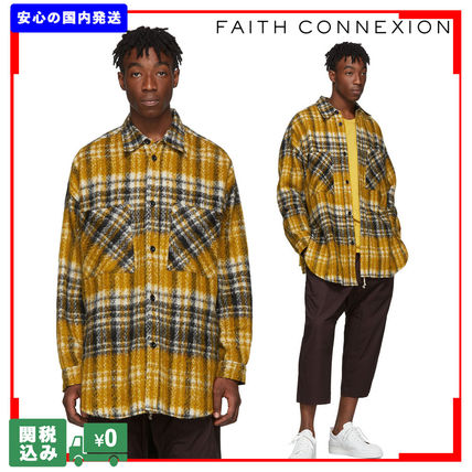 Other Check Patterns Unisex Wool Street Style Long Sleeves