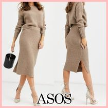 ASOS Crew Neck Casual Style Rib Long Sleeves Office Style