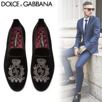 Dolce & Gabbana Loafers Velvet Blended Fabrics Plain Leather With Jewels