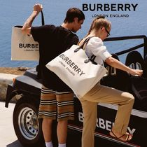 Burberry Unisex Canvas Street Style A4 Leather Totes