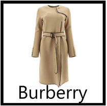 Burberry Wool Plain Long Office Style Elegant Style Coats